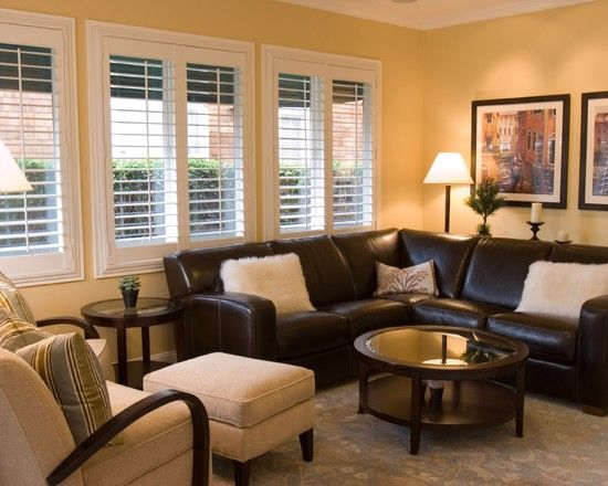 Family Room Dark Brown Leather Sectional Design, Pictures