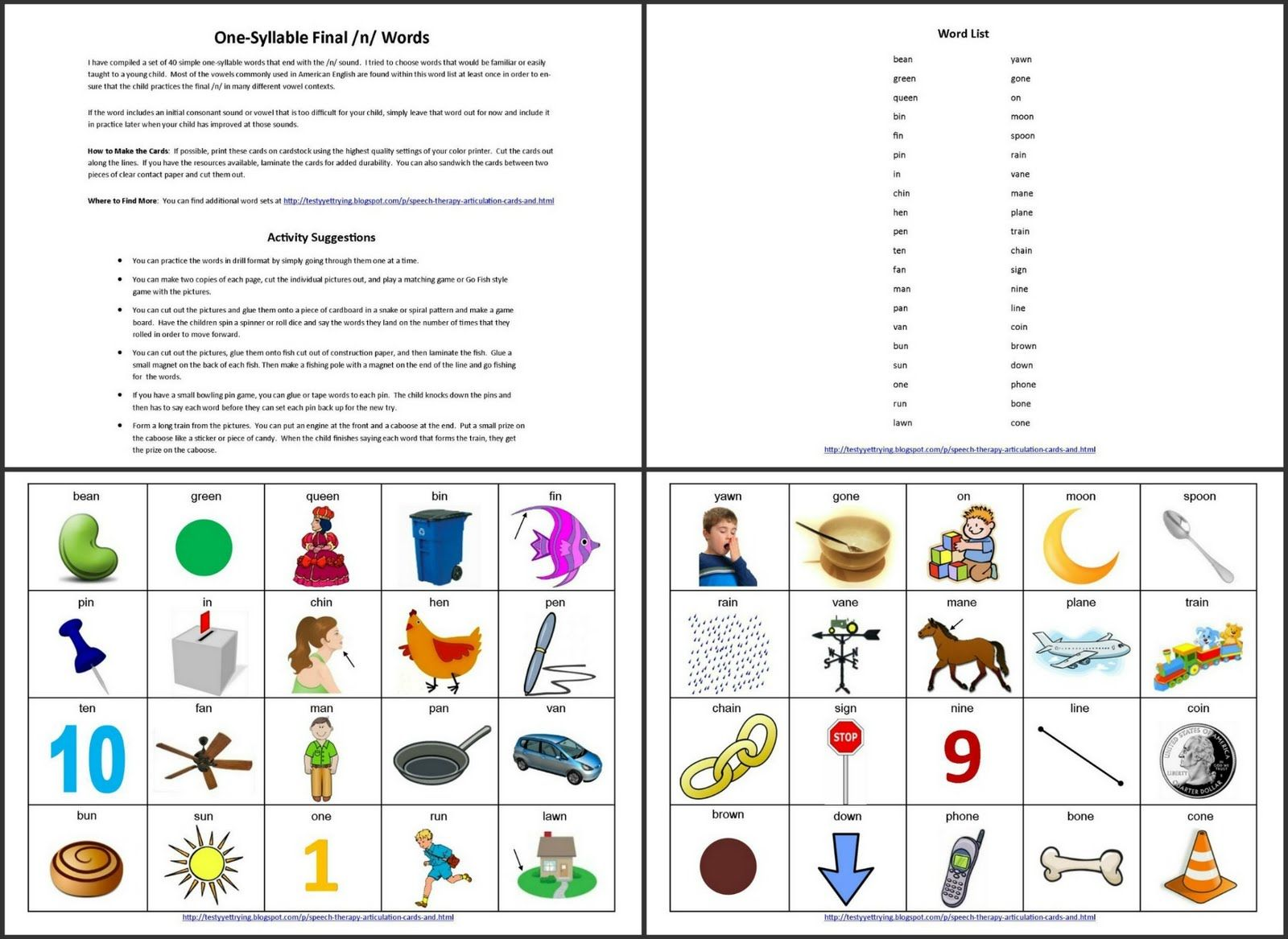 Final N - One Syllable Speech Therapy Articulation Picture Cards ...