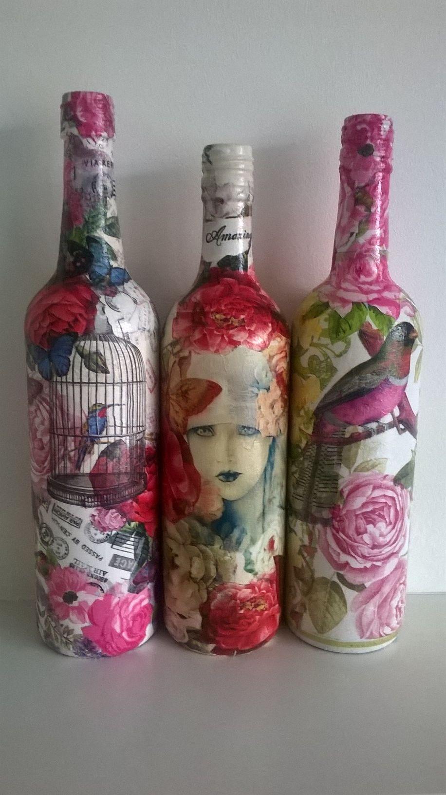 Decoupage Wine Bottles Wine Bottle Diy Crafts Wine Bottle Decor Wine Bottle Crafts