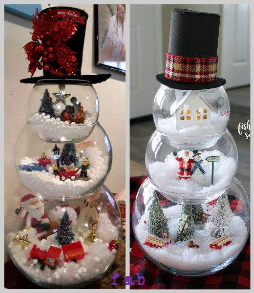 Diy fish bowl snowman christmas decoration crafts tutorial for Fish bowl craft