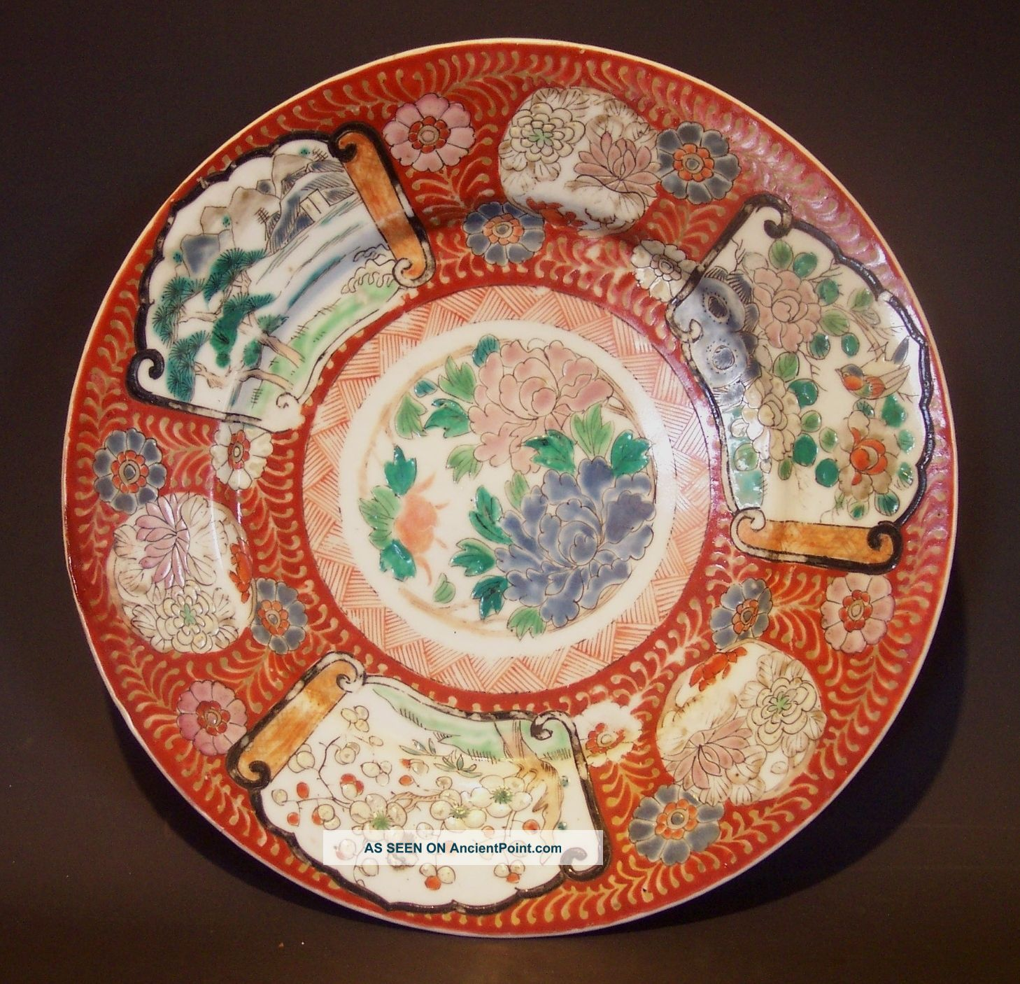 Antique Japanese Plates   Antique Imari Plate Enamel Decorated Porcelain Japanese Charger Old .. & Antique Japanese Plates   Antique Imari Plate Enamel Decorated ...