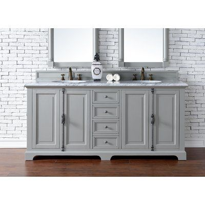 "Darby Home Co Belhaven 72"" Double Urban Gray Granite Top Bathroom Vanity Set Top Thickness: 4cm"