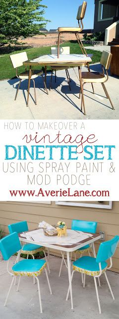 How to Makeover a Vintage Vinyl Dinette Set (using Spray Paint
