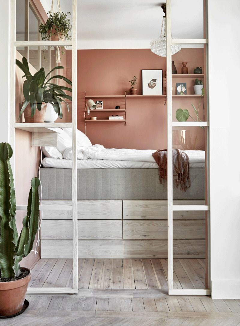 """Photo of Astrid   The Nordroom on Instagram: """"Clever storage idea if you have a small bedroom. Plus I love this pink tone on the wall   styling by @charlottefreysviden & photo by…"""""""
