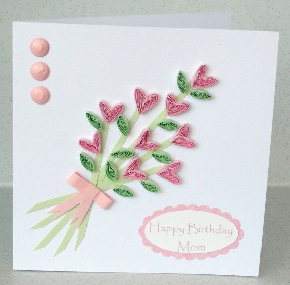 Paper quilling card quilled flowers by paperdaisycarddesign also rh gr pinterest