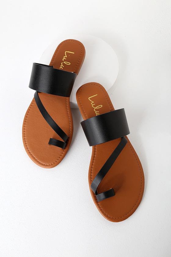 Avena Black Flat Sandals in 2020