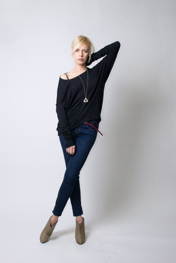 Black Tunic with Cowl Back / Loose Top / Long by marcellamoda