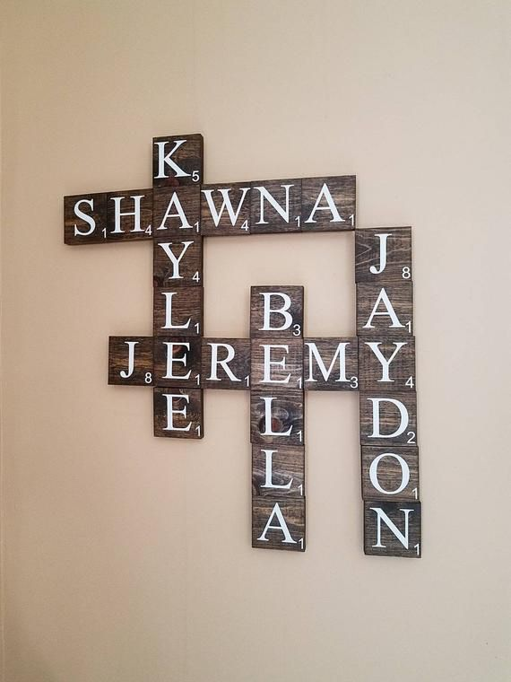 Personalized Wooden Scrabble Family Name Tiles Wall Decor