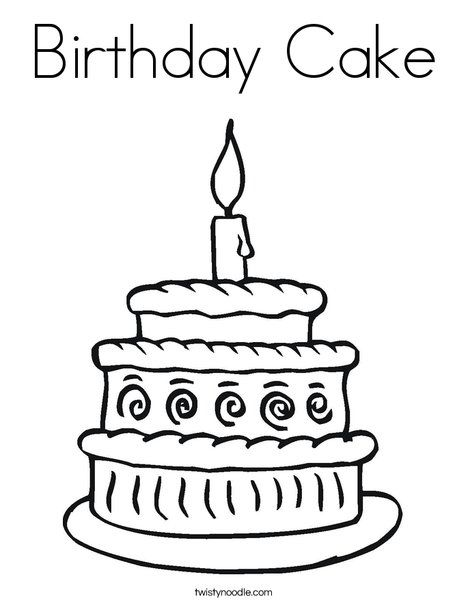 Birthday Cake Coloring Page Twisty Noodle Campbells First