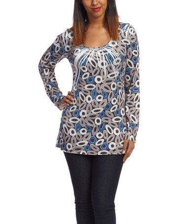 Another great find on #zulily! Blue & Brown Sublimation Three-Quarter Sleeve Tunic by Simply Irresistible #zulilyfinds