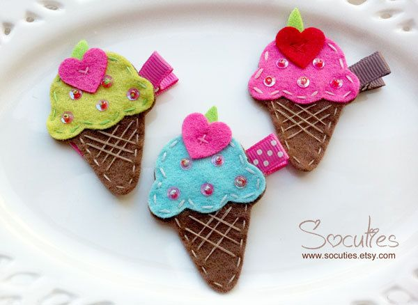 Felt Pink /& White Ice Cream Cone Clip