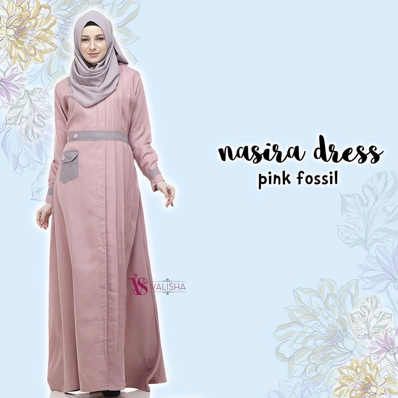 Gamis House Of Valisha Nasira Dress Pink Fossil - baju gamis wanita busana  muslim Untukmu yg 1f24c87bf8