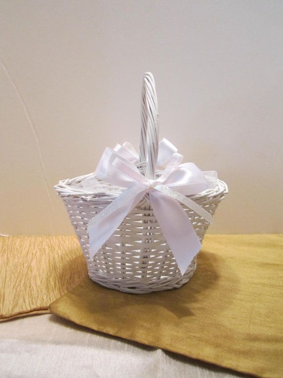 Round flower girl basket white wicker basket white wedding round flower girl basket white wicker basket white wedding basket dressed up and mightylinksfo