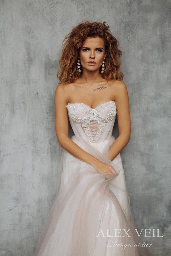 Wedding Dress Deniz Exquisite Blush Tone Alternative Colorful Weddings Pinterest Dresses Colors And