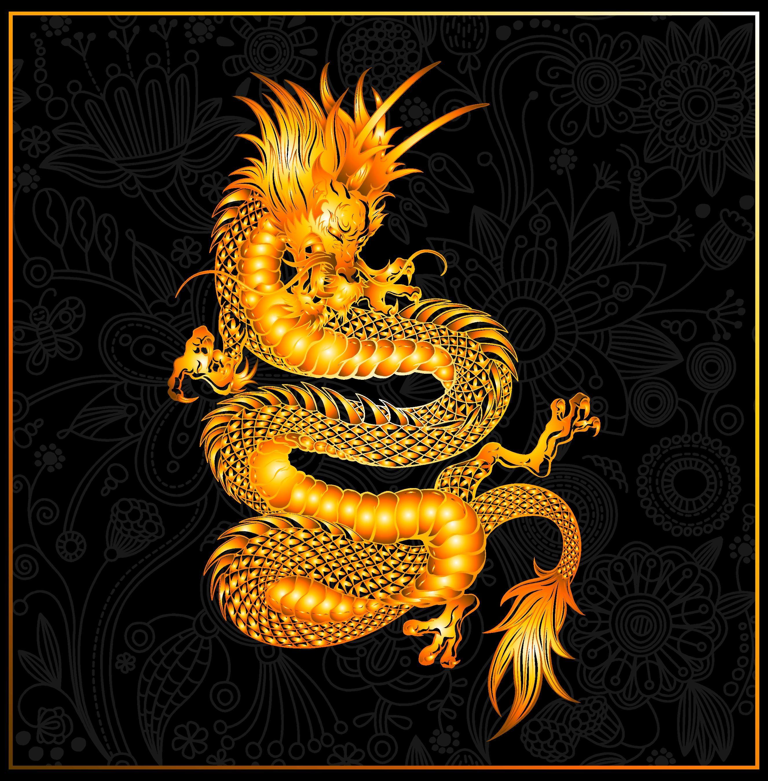 Открытка с черным драконом