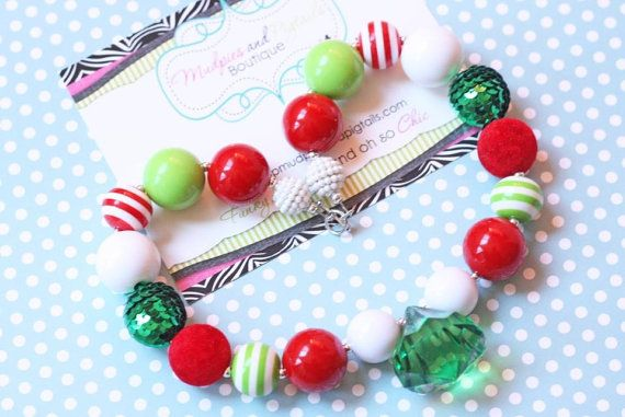 Chunky necklace, Christmas Necklace, Holly Jolly, green red white