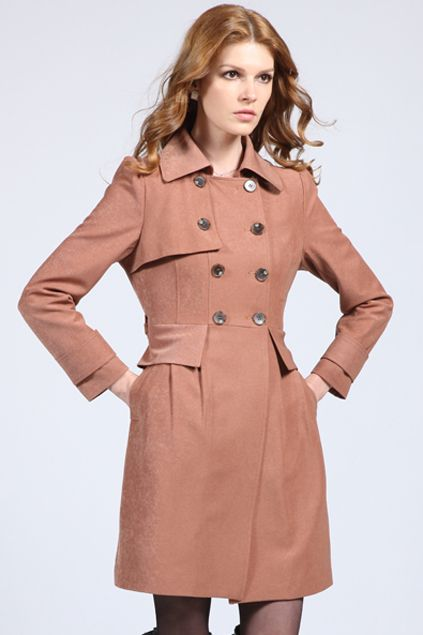 Double Breasted Camel Cap Trend Coat