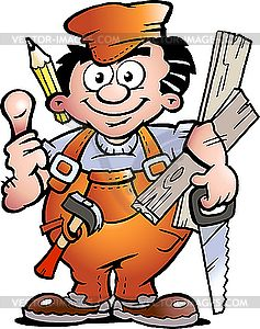 Handyman Clipart Carpenter Handyman Vector Clip Art Funny