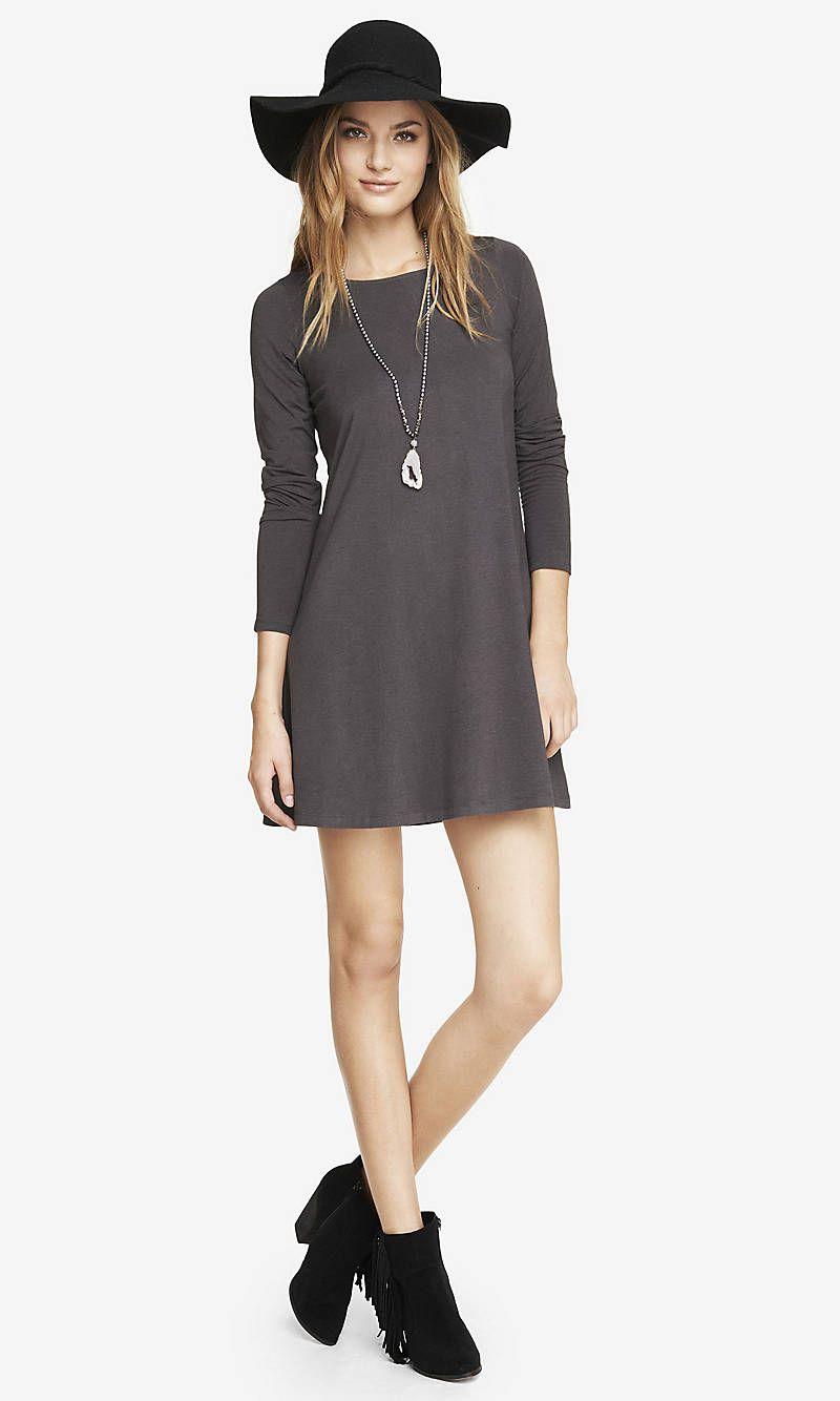 Gray long sleeve zip back trapeze dress express fashion u style