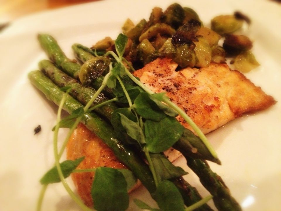 Salmon, Brussels Sprouts, and Asparagus: 3/29/13