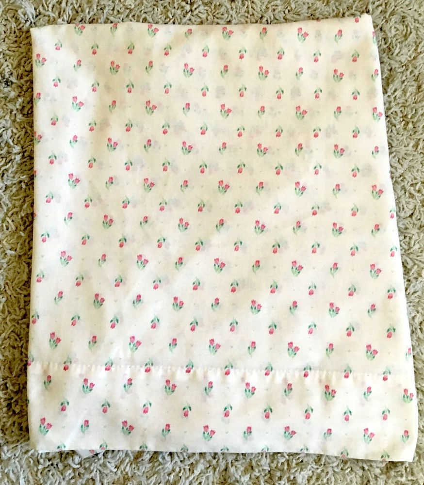 Vintage J. P. Stevens Cream U0026 Pink Floral Flat Twin No Iron Bed Sheet  #JPStevensCoInc #