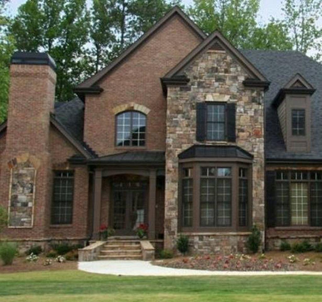 30 Stunning Villa Style Home Exterior Design Ideas Brick Exterior House House Exterior House Designs Exterior