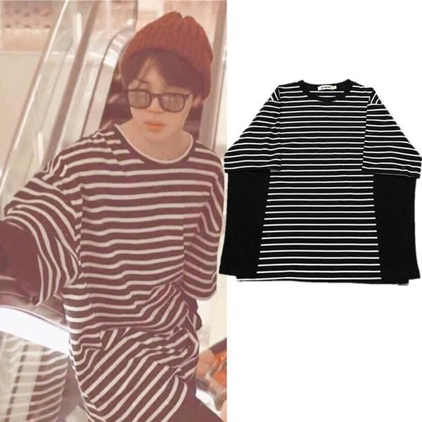 cd3269ad7c8 Bts jimin archived black white striped shirt in 2019