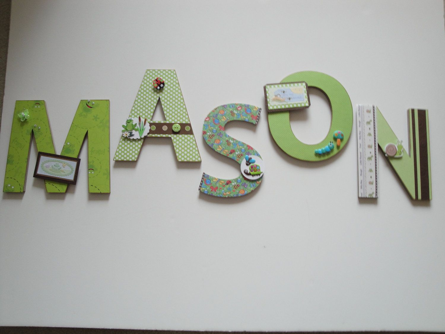 Beautiful Baby Nursery Letters, Boys Room Decor,Baby Shower Gift, Frogs,Snails, Bugs  Theme,Holiday Gift,3D Custom Wall Letters. $19.99 Each Letter, Via Etsy.