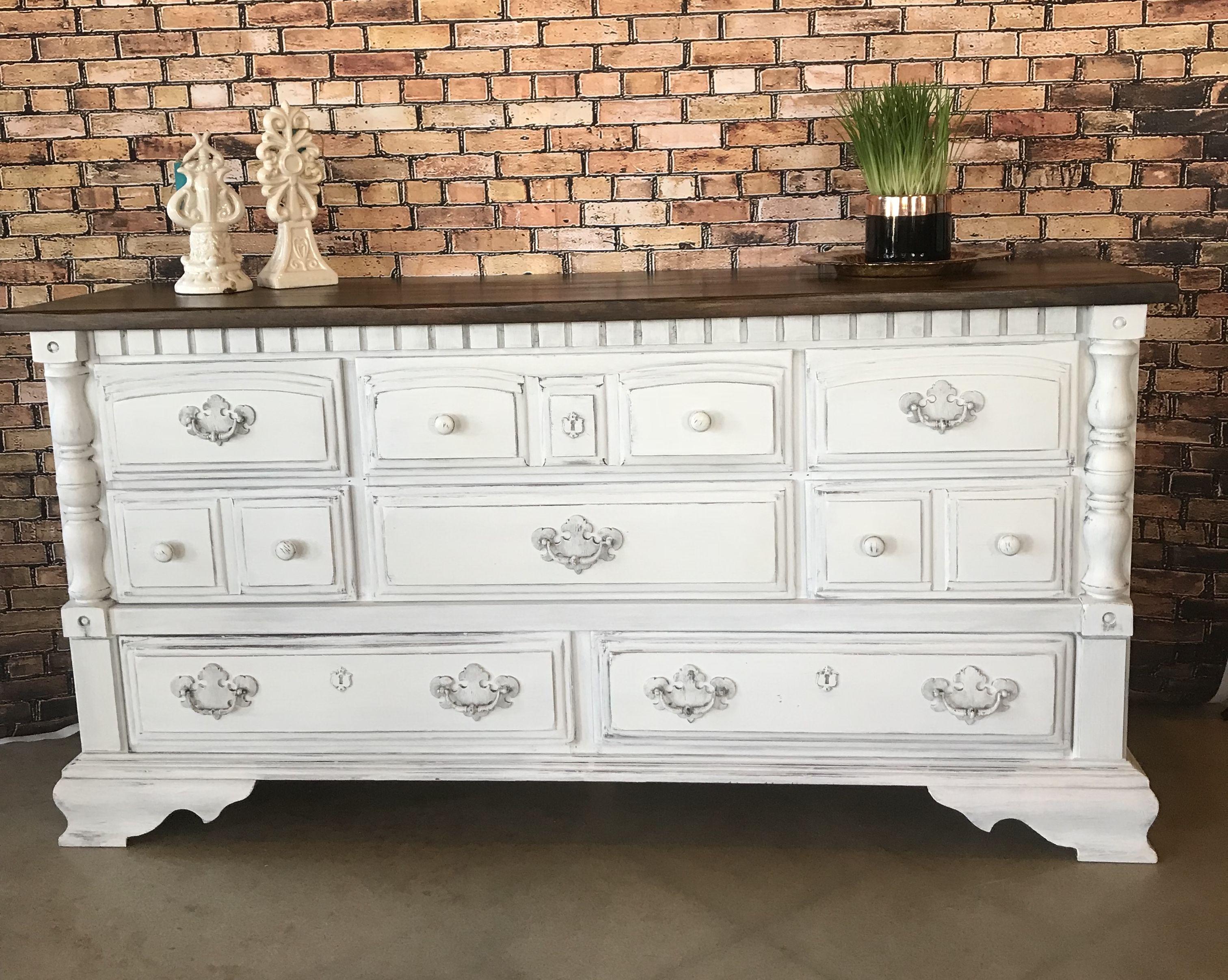 1980 S 65 Dresser In Linen White Rustoleum Chalk Paint
