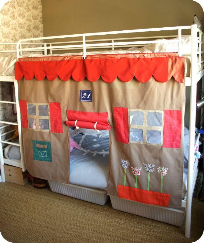 fa ade de maison pour lit superpos s mademoiselle coud. Black Bedroom Furniture Sets. Home Design Ideas