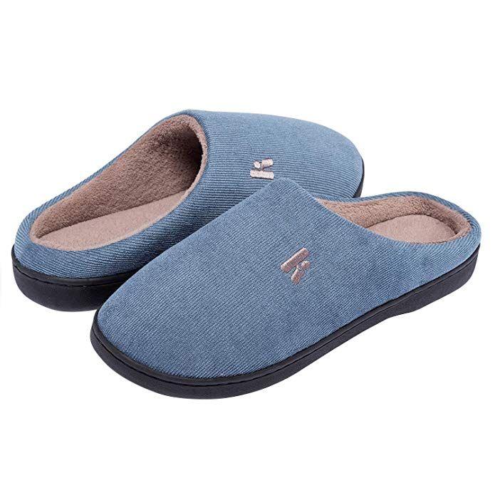 IKENIP Men's Memory Foam Slippers Cozy Anti-Slip Indoor
