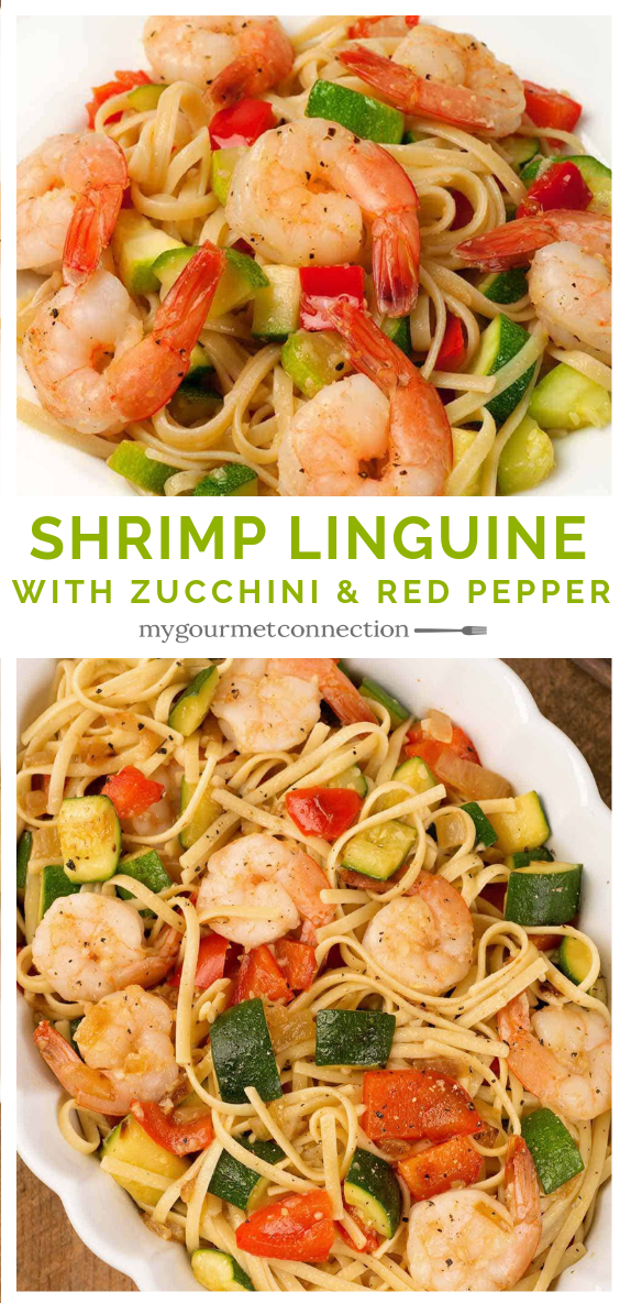 Linguine With Shrimp, Zucchini And Red Pepper This one-dish pasta dinner is made with shrimp, zucchini and red bell pepper sautéed in olive oil, flavored with garlic and onion and tossed with linguine.