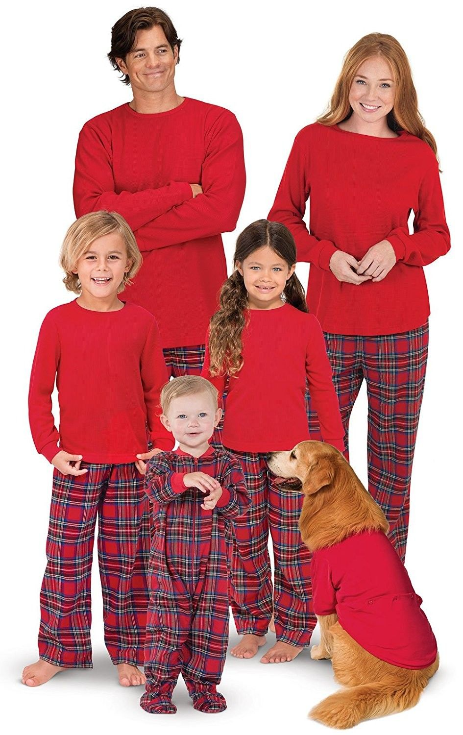 Red Flannel Stewart Plaid Matching Family Christmas Pajama Set ... c87b4fd56