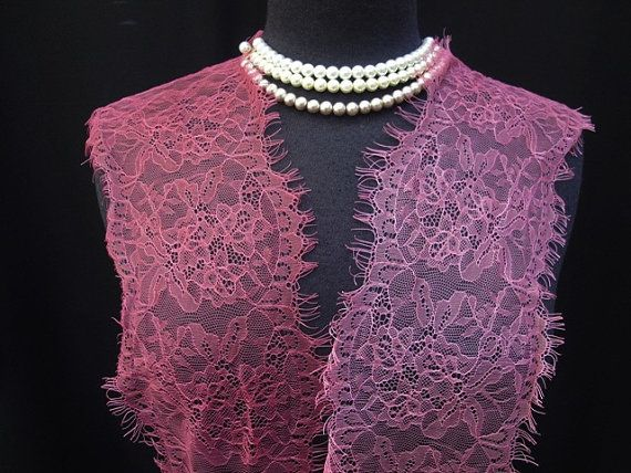 "6"" Wide Mauve Pink or Rose Floral Stretch Nylon Lace Trim Bridal Wedding  Eyelash Victorian Style Leaver Scalloped Lace for Lingerie FJT1 LA"
