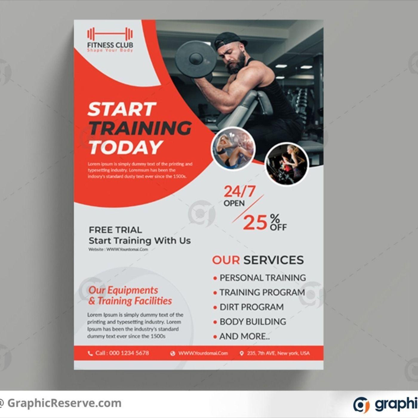 Fitness gym flyer design template in 2020 Flyer design