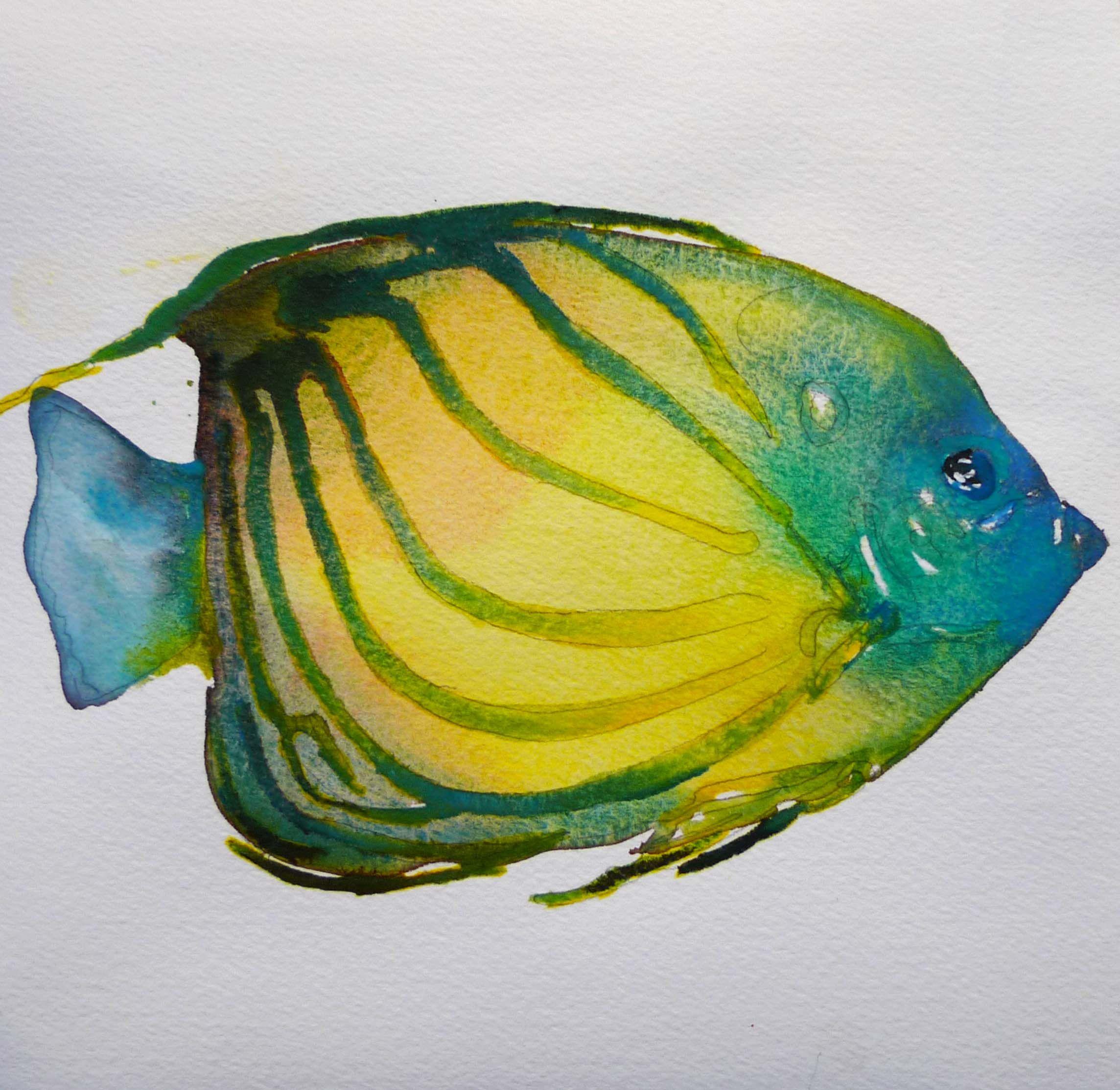 Tropical Fish Watercolor 7 5 X 7 5