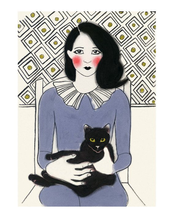 Cat art Francis and friend by matouenpeluche