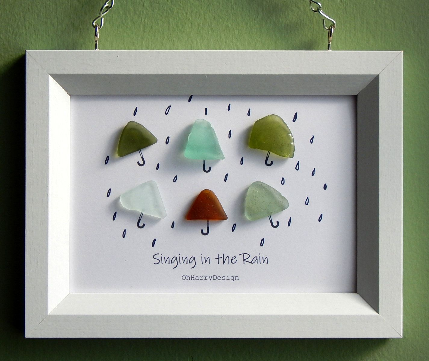 Sea Beach Glass Umbrella Artwork Picture Singing In The Rain By Ohharrydesign On Etsy Sea Glass Art Diy Sea Glass Crafts Sea Glass Art