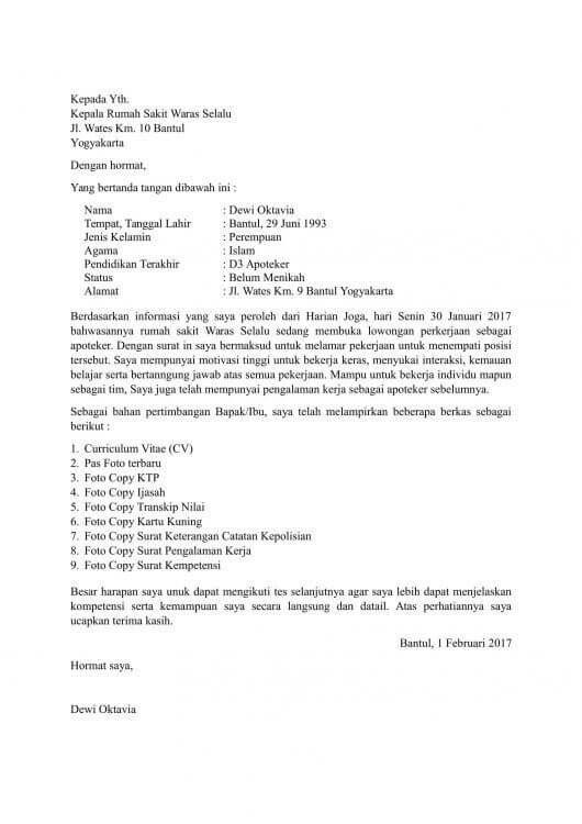Contoh Lamaran Kerja Cleaning Service Di Rumah Sakit Kumpulan Kerjaan Cute766
