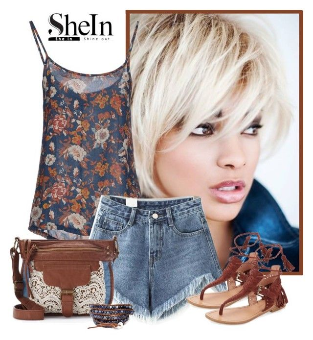 """""""Shein blue raw hem denim shorts"""" by lorrainekeenan ❤ liked on Polyvore featuring 40WEFT, Sigerson Morrison and Mudd"""