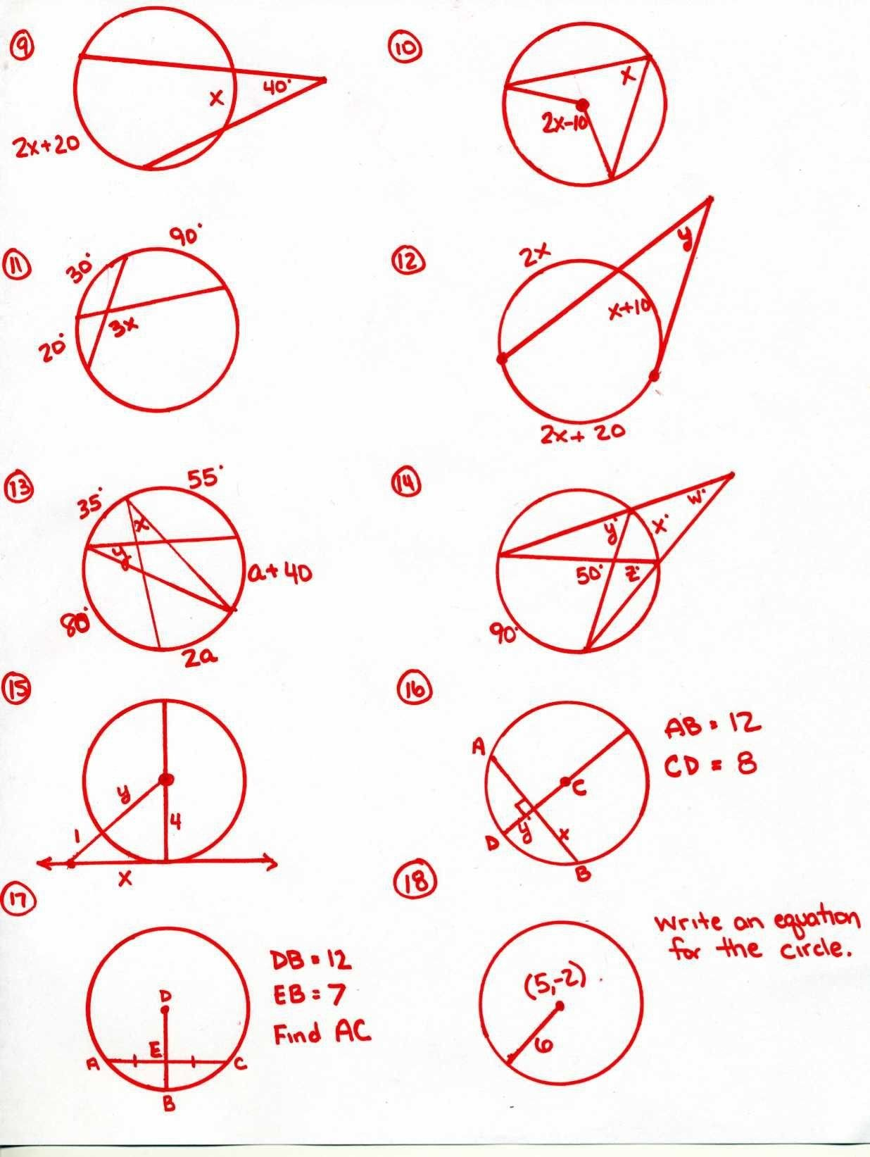 Completing The Square Circles Worksheet Calculate Arc Length Worksheet Geometry Worksheets Circle Theorems Angles Worksheet