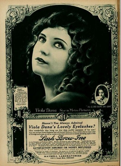 Vintage Advert for Maybells Lash-Brow-Ine (later to become Maybelline) with silent film star Viola Dana : MPC 1920-Feb