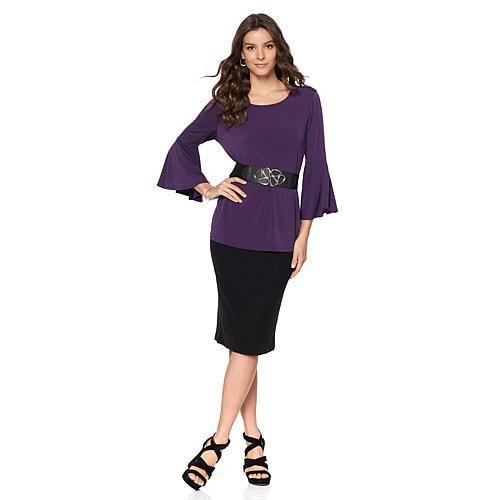 f686c833fd0e4 Slinky® Brand 2pk Bell-Sleeve Knit Tunics - Dark Navy Teal