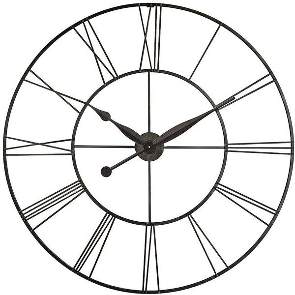 "Lamps Plus Skyscraper 45"" Round Extra Large Black Wall Clock ($320) ❤ liked on Polyvore featuring home, home decor, clocks, black, black wall clock, battery wall clock, roman numeral wall clock, battery operated clock y roman numeral clock"