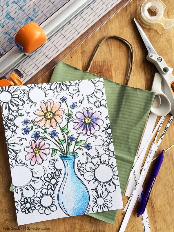 Decorating Gift Bags With Coloring Pages