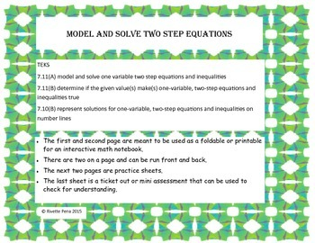 Model and Solve two step equations with algebra tiles TEKS 7 11A