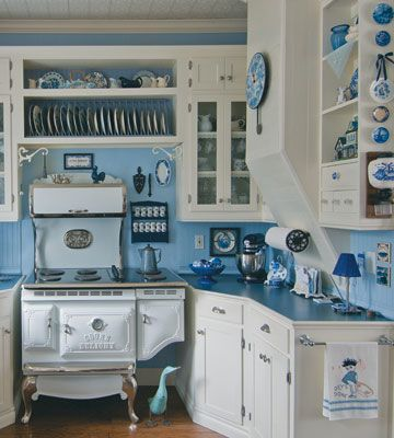 country kitchen in blue and white | decor | pinterest | white