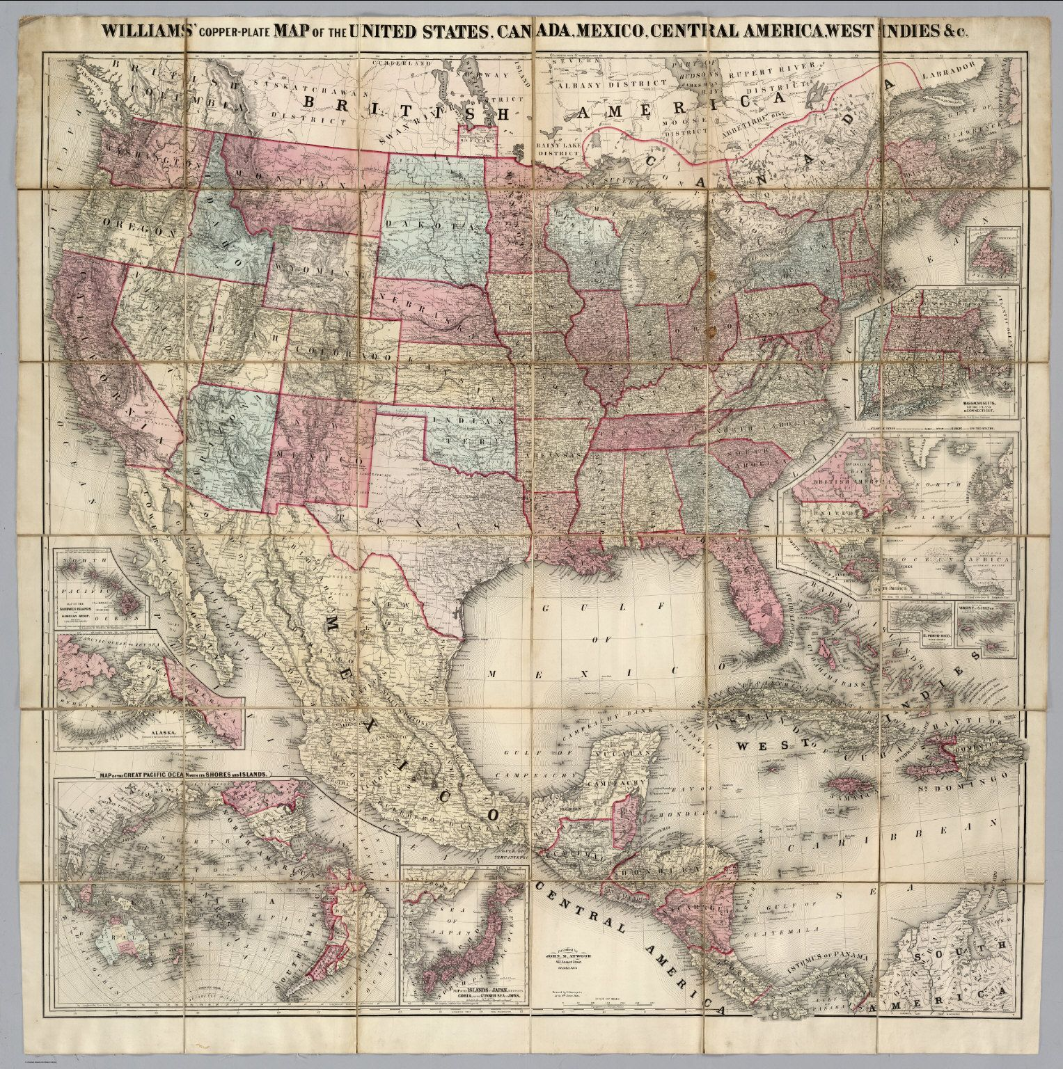 1876 map of the US, southern Canada, Mexico, Central America, and ...