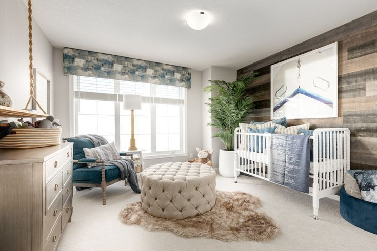 This third bedroom turned nursery isn't the only great thing about this luxurious and large home! View more of this home: Kendrick in Mahogany in Alberta | Third Bedroom  | Home design by Excel Homes #homedesign #nursery #babyroom #homedecor #alberta