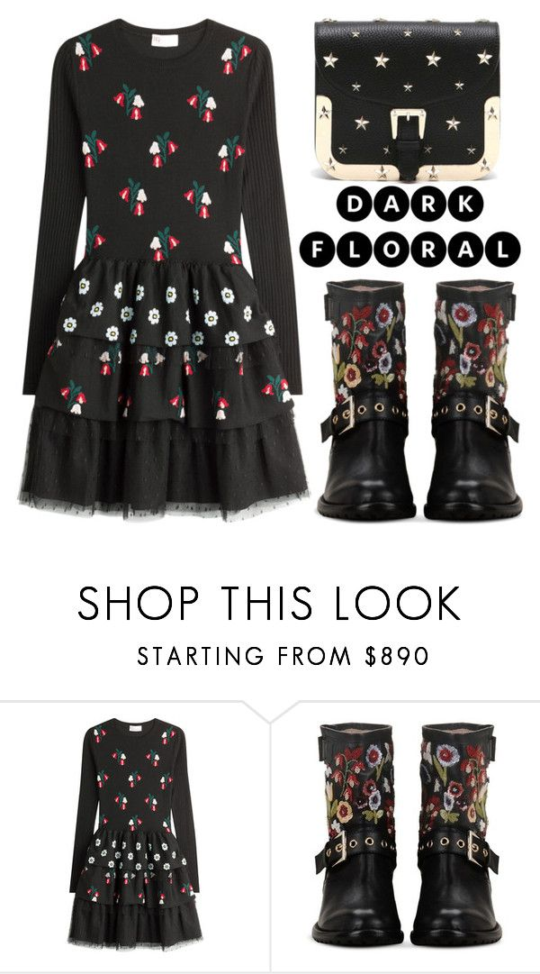 """""""In Bloom: Dark Florals"""" by shoaleh-nia ❤ liked on Polyvore featuring RED Valentino"""